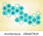 medical background and icons to ... | Shutterstock .eps vector #280607819