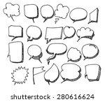 set of speech bubble hand drawn ... | Shutterstock .eps vector #280616624