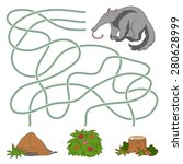 maze game  anteater and anthill  | Shutterstock .eps vector #280628999