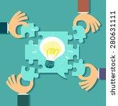 illustration of 4 hands help... | Shutterstock .eps vector #280631111