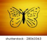 butterfly silhouette on yellow... | Shutterstock . vector #28063363