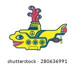yellow submarine diving in the... | Shutterstock .eps vector #280636991