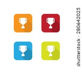 colorful flat trophy icons with ...