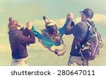 young couple swinging son... | Shutterstock . vector #280647011
