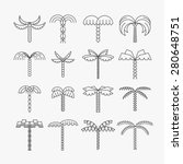 graphical palm tree set  linear ... | Shutterstock .eps vector #280648751