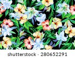 floral pattern of flowers red... | Shutterstock . vector #280652291