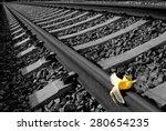 "banana peel on railway.  ""...   Shutterstock . vector #280654235"