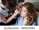 wedding makeup artist making a... | Shutterstock . vector #280655081