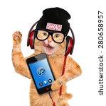 Stock photo cat headphones 280658957