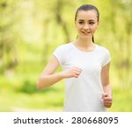 young attractive girl in white... | Shutterstock . vector #280668095