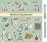 cute cartoon set of laboratory... | Shutterstock .eps vector #280671755