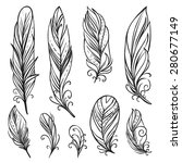 hand drawn bird feathers.... | Shutterstock .eps vector #280677149
