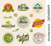 stevia and organic food label... | Shutterstock .eps vector #280688849