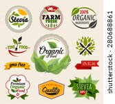 stevia and organic food label... | Shutterstock .eps vector #280688861