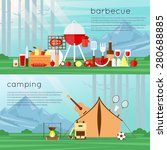 Camping Landscape With Tent An...