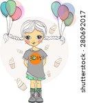 little girl with balloons | Shutterstock .eps vector #280692017