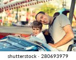 son and father in the amusement ... | Shutterstock . vector #280693979