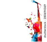 colorful cello with microphone... | Shutterstock .eps vector #280694369