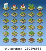 isometric city map road  trees... | Shutterstock .eps vector #280696955
