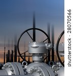 Composition regarding technology of a refinery plant - stock photo