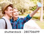 park selfie. young handsome man ... | Shutterstock . vector #280706699