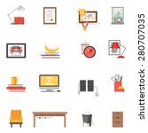 work room interior single icons ... | Shutterstock .eps vector #280707035