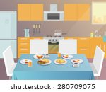 table with served breakfast... | Shutterstock .eps vector #280709075