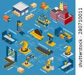 isometric factory flowchart... | Shutterstock .eps vector #280710011