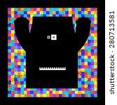 colorful pixel monster on... | Shutterstock .eps vector #280713581