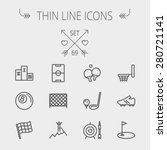 Sports Thin Line Icon Set For...