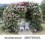 Rose Arch In Japan Garden With...
