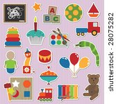 collection of stickers  ... | Shutterstock .eps vector #28075282
