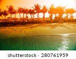 Stock photo tropical island beach view from sea side sunshine color effect photo 280761959