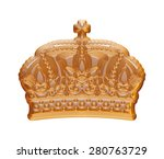 gold crown on isolated white. | Shutterstock . vector #280763729