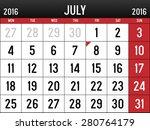 calendar for july  2016 | Shutterstock .eps vector #280764179