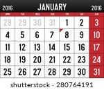 calendar for january  2016 | Shutterstock .eps vector #280764191