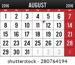 calendar for august  2016 | Shutterstock .eps vector #280764194