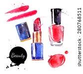 watercolor cosmetics set. hand... | Shutterstock .eps vector #280768511