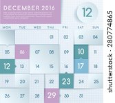 december 2016 calendar layout   ... | Shutterstock .eps vector #280774865