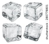 set of four opaque ice cubes in ... | Shutterstock . vector #280778801