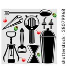 Bartending Tools in Vector silhouette - corkscrew, shaker, strainer, bottle opener, stirrer, olive, and cherry - stock vector