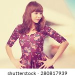 cool young woman standing | Shutterstock . vector #280817939