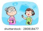 kid talk to grandma talk about... | Shutterstock .eps vector #280818677