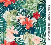 summer colorful hawaiian... | Shutterstock .eps vector #280827599