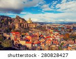 Beautiful panoramic view of Tbilisi at sunset, Georgia, Europe