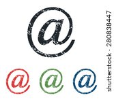 colored grunge icon set with at ...