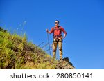 young tourist on top of rock on ... | Shutterstock . vector #280850141