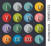 roman numerals flat icon set | Shutterstock .eps vector #280851221
