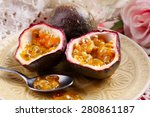 Passion Fruit On Plate On Color ...