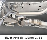 Pickup truck drive shaft - stock photo